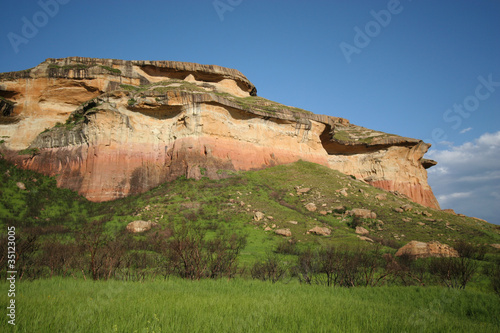 Sandstone hills in the mountains of the Drakensberg