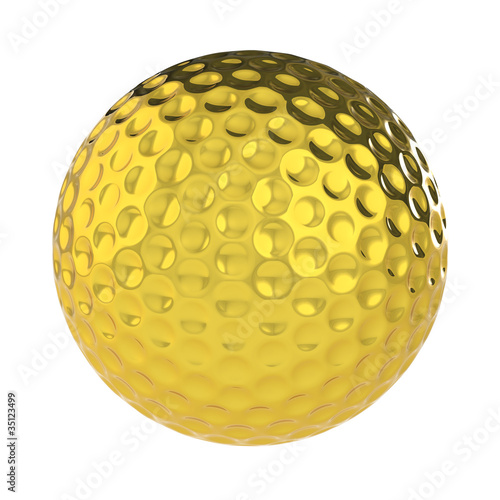 A Golden Golf Ball. Isolated