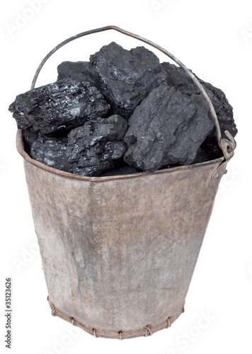 Coal piece in the bucket