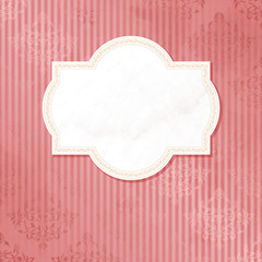 Antique white on pink wedding label