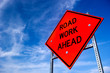 Leinwanddruck Bild - Road Work Ahead Sign