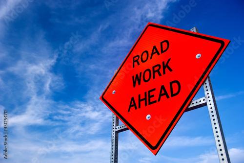 Leinwandbild Motiv Road Work Ahead Sign