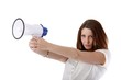 young woman with a megaphone (white background)