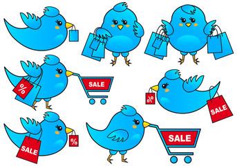 blue bird shopping, vector icon set