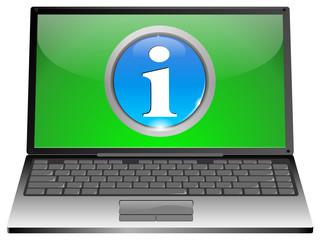 Laptop mit Info Button