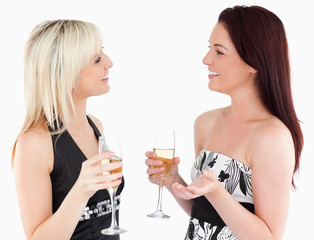 Gorgeous well-dressed women drinking champaign