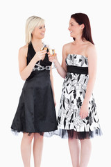 Cheerful women in beautiful dresses toasting with champaign