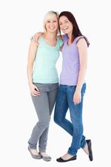 Cheerful women posing