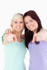 Cheering friends posing
