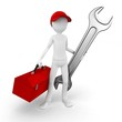 3d man engineer with toolbox and wrench