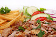 gyros with french fries and salad