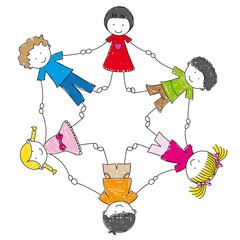 Grupo de niños cogidos de las manos