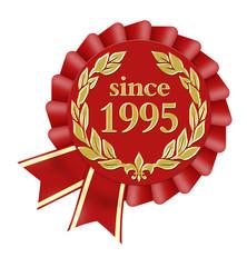 since 1995 button seal siegel jubiläum