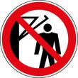 Verbotsschild Nicht hinter den Schwenkarm treten Zeichen