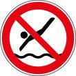 Verbotsschild Ins Wasser springen verboten Zeichen