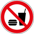 Verbotsschild Speisen und Getränke verboten Zeichen