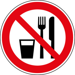 Verbotsschild Essen und trinken verboten Zeichen