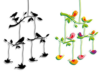 birds with tree branch, vector
