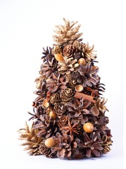 christmas tree made from natural elements - isolated