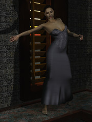 Female vampire in abandoned tower at sunrise