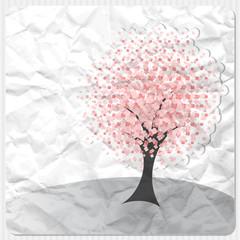 Albero fiorito su carta stropicciata - Tree on crumpled paper
