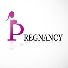 Logo letter P, pregnancy # Vector
