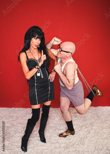 Dominatrix Woman and Silly Man