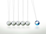 Newtons Cradle Pendulum Lead Ball Masked In Map Of Asia poster