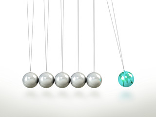 Newtons Cradle Pendulum Lead Ball Masked In Green Map Of World