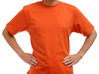 Orange t-shirt on young man isolated on white background