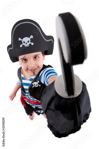 Child pirate with hook.