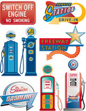 gasoline pump and signboard