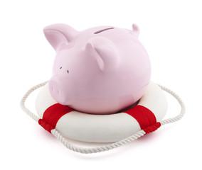 Savings help. Piggy bank with Lifebuoy