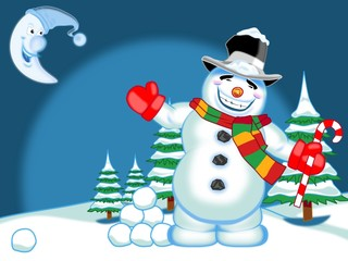 Schneemann in der Winternacht