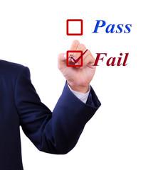 business man hand choose fail box