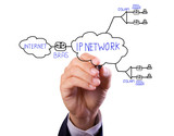 business man hand drawing ADSL and internet network diagram