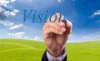 business man hand writing vision word