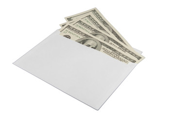 Cash in envelope isolated on white background