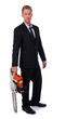 Selfconfident businessman with chainsaw