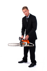 Businessman preparing his chainsaw