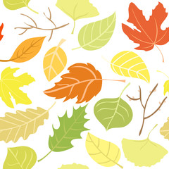 Seamless pattern: autumn leaves. Vector illustration.