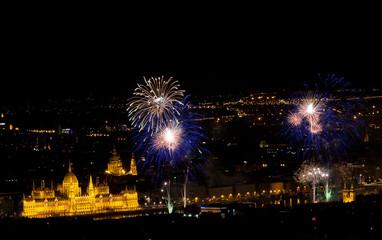 Fireworks above Budapest