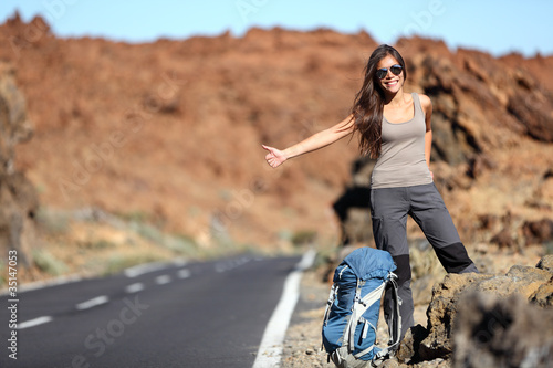 Travel woman hitchhiking
