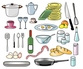 Set of kitchen vector tools, food and beverages