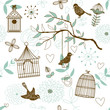 Nature Pattern with birds. Vector seamless.