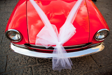 Car decorated for a wedding