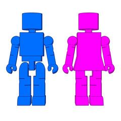 Block Figure Man & Woman