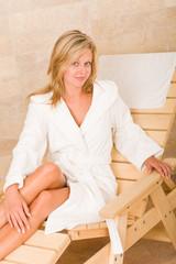 Relax luxury spa beauty woman white bathrobe