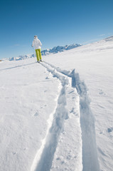 Ski touring (copy space)
