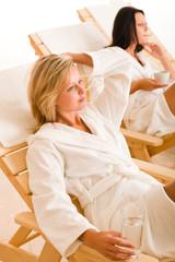 Relax luxury spa beauty women enjoy refreshments